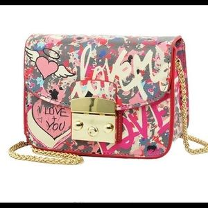 Leather Graphic Art Print Chain Clutch Cross body